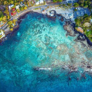 Aerial view of the Menehune breakwater at Kahaluu Bay